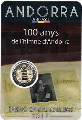 NEW !!! Coin Card 2 EURO COMMEMORATIVO ANDORRA 2017 100° Inno di Andorra NEW !!!