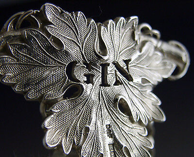 Quality English Sterling Silver Gin Wine Label 1979 Georgian Style Vine Leaf