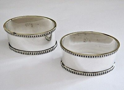 Quality Pair of Vintage Solid Silver Oval Napkin Rings Birmingham 1965