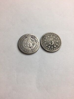 1867 Shield Nickels 1 With Rays & 1 Without