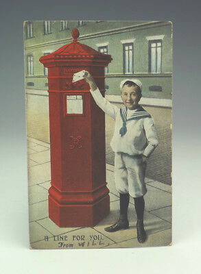 Vintage 'A Line For You' - Postbox Post Office Royal Mail Themed Postcard