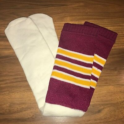 NEW Vtg 70s 80s Knee high TUBE SOCKS Burgundy Yellow STRIPED Athletic Mod Retro