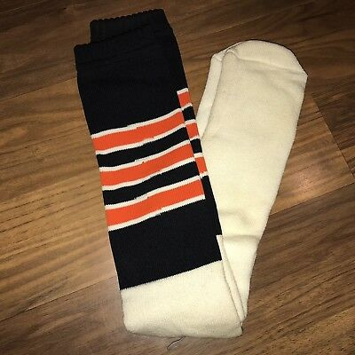 NEW Vtg 70s 80s Knee high TUBE SOCKS Black Orange STRIPED Oklahoma State Cowboys