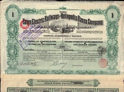 EGYPT  The Cairo Electric Railways & Heliopolis Oases Company dd 1906