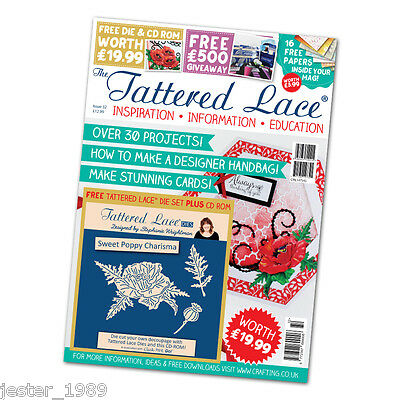 Tattered Lace Magazine Issue 32 + Free Charisma Sweet Poppy die set and CD ROM