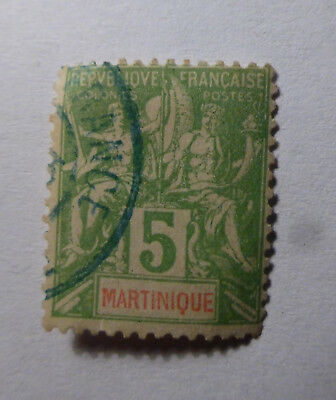 Briefmarke MARTINIQUE 5 - grün aus alter Sammlung
