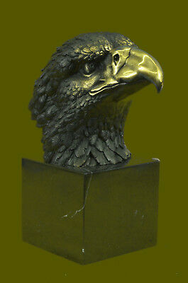 Marked Chinese Fengshui Bronze Brass eagle king of birds Hawk Head - Bust Statue
