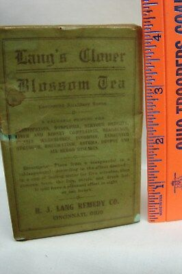 Early Vintage Unopened Box Lang's Clover Blossom Tea For Constipation &