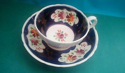 Antique Gaudy Welsh Cup And Saucer