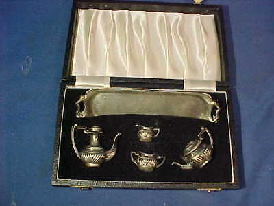 Vintage STERLING SILVER Miniature 5pc DOLLHOUSE TEA SET in Orig CASE