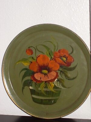 """Vintage 11 1/2"""" inch Toleware Tray Hand Painted Floral Design by Pilgrim Art"""