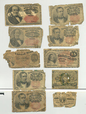 A group lot of ten circulated fractional banknotes - five denominations