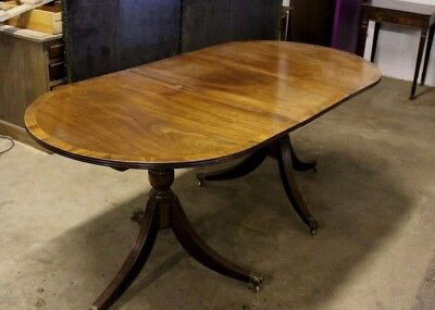 Good Quality Vintage Solid Mahogany Extending Twin Pedestal Dining Table