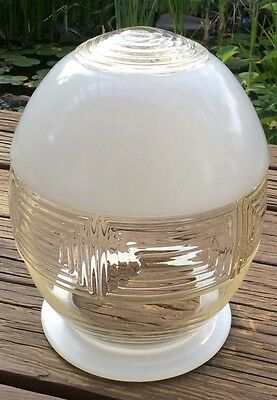 Art Deco Glass Lamp Shade Clear Frosted Hanging Light VTG Antique Industrial D9