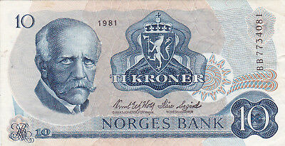 10 Kroner Extra Fine Banknote From Norway 1983!pick-36