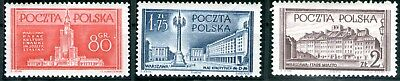 Poland 1953 Reconstruction of Warsaw set of 3 Mint Unhinged