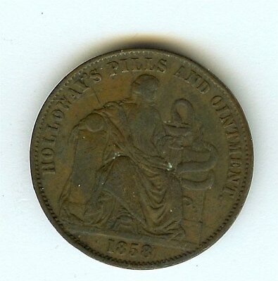 Great Britain 1858 1/2 Penny Token -Holloways's Pills & Ointment- Extremely Fine