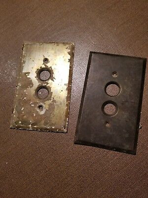 (2) Antique Brass Push Button Light Switch Cover Plate Vintage