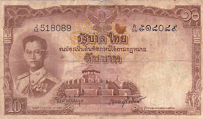 10 Baht Vg Banknote From Thailand 1953!pick-76