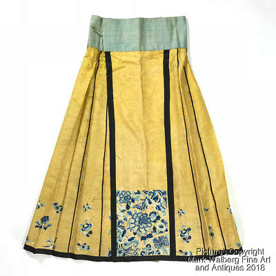 Chinese Embroidered Yellow Silk Gauze Paired Apron / Skirt, Late 19/Early 20th C