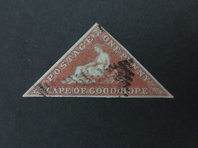Cape Of Good Hope COGH 1853 1d deep brick-red triangle Used 3 margins SG 1a