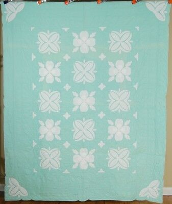 NICELY QUILTED Vintage 30s Green & White Floral Applique Antique Quilt ~GORGEOUS