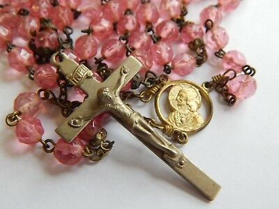 Vintage Antique 1910 -20s Hand Knotted Easter Pink Glass Gold Tone Brass Rosary