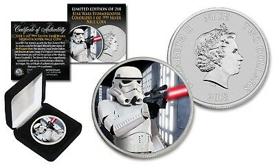 2018 Niue 1 oz Silver BU Star Wars STORMTROOPER Coin with DEATH STAR Backdrop