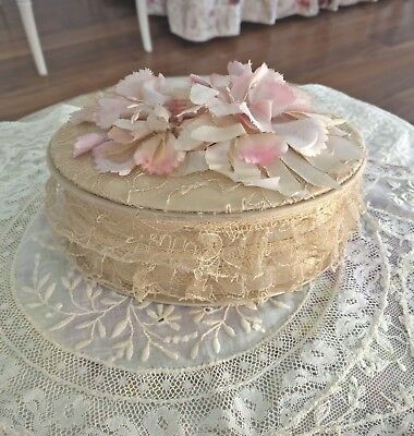 Antique Pink Millinery Flowers Lace Oval Candy Box Boudoir Satin 1930s Vintage