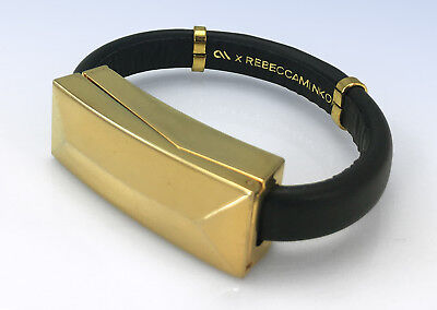 REBECCA MINKOFF Gold-Tone & Black Leather iPhone USB Lightning Cable Bracelet