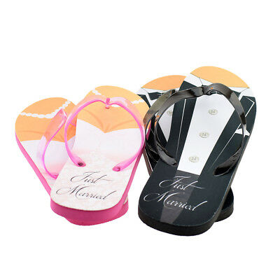 Just Married Tux and Wedding Dress His & Her Flip Flops - XFFS050-Pink-Black