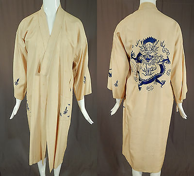 Vintage Antique Chinese Dragon Blue Embroidered Ecru Pongee Raw Silk Kimono Robe