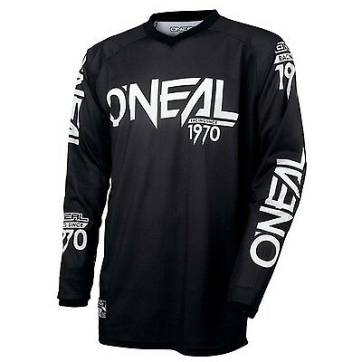 Oneal ADULT Threat Shadow MX Motorbike Jersey Shirt Top BLACK WHITE Size S-2XL