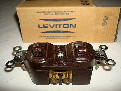 Vintage Leviton Brown Bakelite 2 Single Pole Quiet Toggle Switches New Old Stock