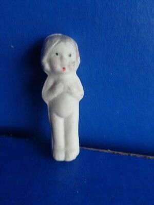 """Vintage 2"""" All Bisque Doll- King Cake Doll- Mardi Gras Collectible"""