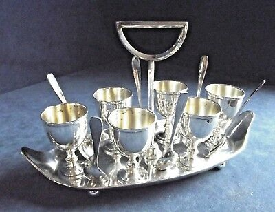 SUPERB Large ~ SILVER Plated ~ GEORGIAN Styled ~ EGG Cup Breakfast SET ~ c1910