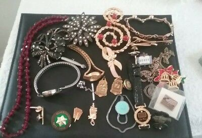 vintage mixed lot of jewelry and watches, Benrus , gold pin plus.