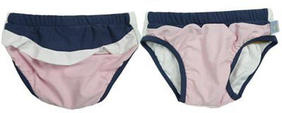 Girls White Soda Swim Nappy - Blue and Pink New