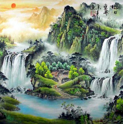 """Oriental Chinese Painting Feng Shui Ink Huge Art-Spring Mountain Sunrise 19x19"""""""