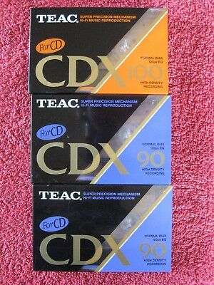 3 Teac Sealed Audio Cassettes   Cdx90  Cdx100