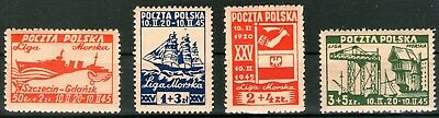 Poland 1945 Founding of the Sea League set of 4 Mint Unhinged