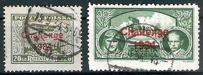 Poland 1934 Airmail-Challenge 1934 Overprints set of 2 Used