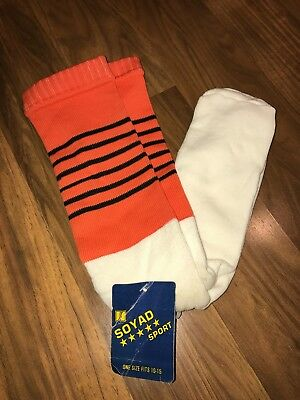 NWT Vtg 70s 80s Knee high TUBE SOCKS Orange Black White STRIPED Mod Athletic NEW