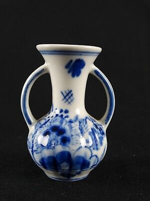 Vintage Dutch Delft DBL Blue White Bud Double Handled vase Hand Painted Holland
