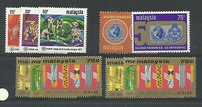 MALAYSIA 1975 Rubber Reasearch (2 sets) also 1971 SEAP Games, 1973 Interpol, SG