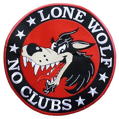 Patche dorsal dos grand écusson brodé grande taille Lone Wolf no clubs patch DIY