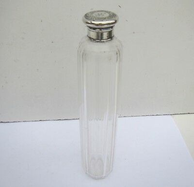 Vintage Glass Vanity Bottle with Solid Silver Decorative Top