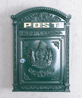 Antique style cast iron letter box founders' period wall metal post box green