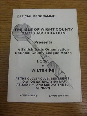 05 05 1979 Darts Programme Isle Wight v Wiltshire [At The Culver