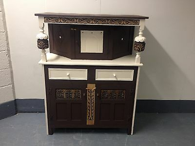 Painted Carved Oak Buffet Backed Sideboard  Cupboard Display Cabinet Shabby Chic
